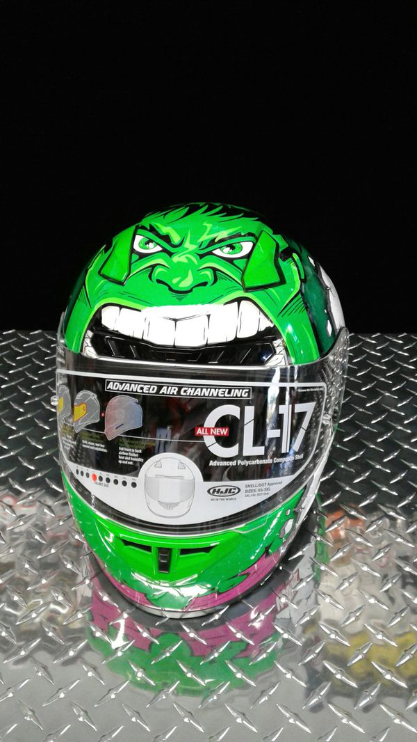 Incredible Hulk motorcycle Snell approved racing helmets