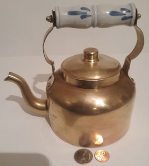 "Vintage Metal Brass Teapot, Tea Kettle with Porcelain Handle, 7"" x 5"", Kitchen Decor, Table Display, Shelf Display, This Can Be Shined Up Even More for Sale in Lakeside, CA"