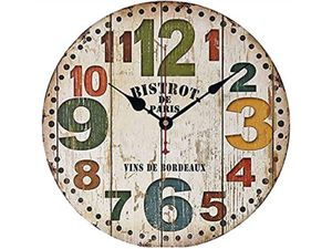 """NEW 12"""" Battery Retro Wooden wall clock farmhouse colorful Tuscan rustic country silent non-ticking for Sale in Victorville, CA"""