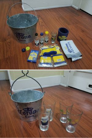 Corona extra ice bucket collectables glasses lot for Sale in Long Beach, CA