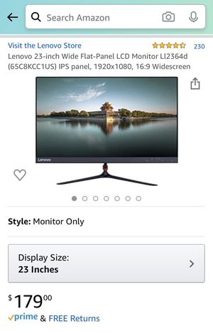 """Lenovo 23"""" Wide Flat Panel LCD Monitor for Sale in Washington, DC"""