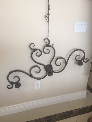 """40"""" Wide Bronze Triple Light Chandelier -without the glass accents. for Sale in Glendale, CA"""