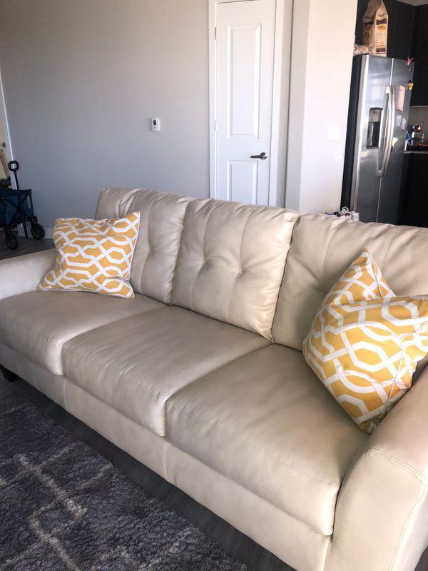 Off White Leather Sofa