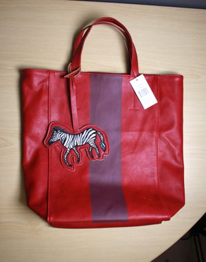 Saks Fifth Ave Red Zebra Pleather Bag for Sale in Bethesda, MD