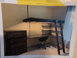 Twin loft bedroom set with desk, dresser and curtains for Sale in Minooka, IL