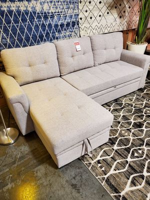 Reversible Sectional Sofa Pull Out Sleeper, Light Grey for Sale in Santa Ana, CA