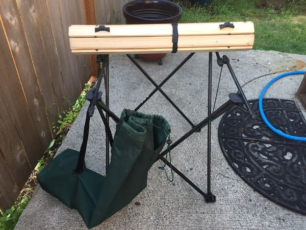 Folding camper table