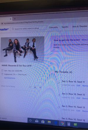 Maná tickets! Floor seating for Sale in Torrance, CA