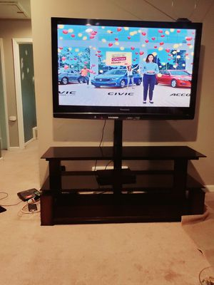 55 inch Panasonic TV, and Sony DVD player with TV stand for Sale in Aurora, CO