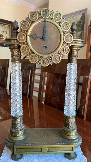 Antique crystal brass metal filigree 17 inch tall very unique clock collectible for Sale in Riviera Beach, FL