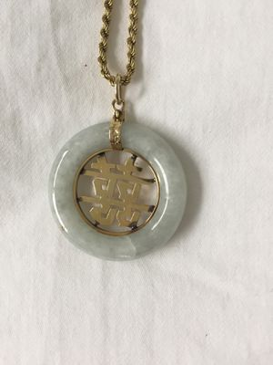 """Jade and 14kt Gold Chinese """"Happy"""" Pendant and 14kt Gold Chain for Sale in Edmonds, WA"""