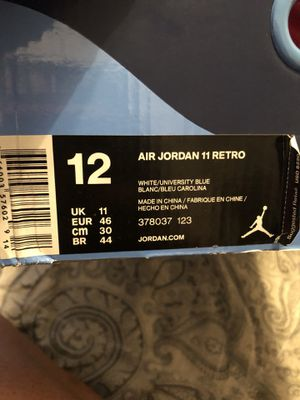 Jordan 11 retro white /UNIVERSITY BLUE size 12 for Sale in Dallas, TX