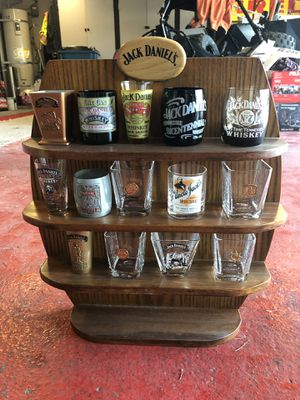 Jack Daniels shot glass collection and shelf for Sale in Las Vegas, NV