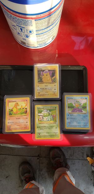 Vintage pokemon cards Shadowless base set starters charmander bulbasaur and squirtle bonus pikachu for Sale in Long Beach, CA