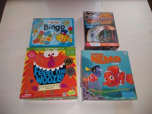 4 Board Games Finding Nemo Feed the Woozle Star Wars Silly Fish Bingo for Sale in Hapeville, GA
