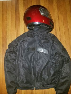 Good condition Insulated Motor Cycle Jacket with Helmet! for Sale in Smyrna, GA