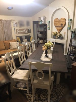 Dining table dinner table kitchen table dinning 6 six chairs bench plank wood farmhouse for Sale in Glendale, AZ