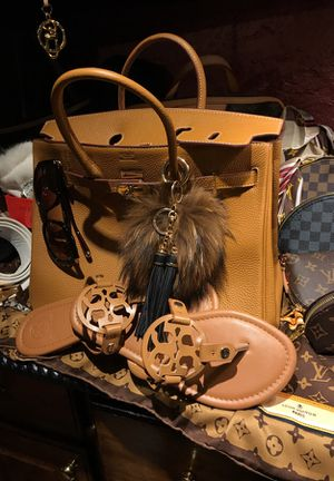 Tan leather 2 pc set Hermes bag and Tory Burch sandals for Sale in Arlington, TX