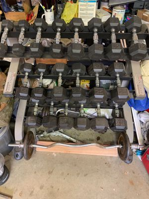 Hex Dumbells with rack and curl bar. for Sale in Wayne, NJ
