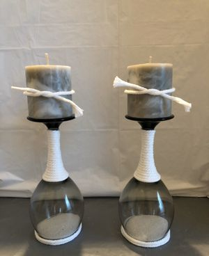 Wrapped White Rope & Sand Wine Glass Candle Holders for Sale in Riverton, UT
