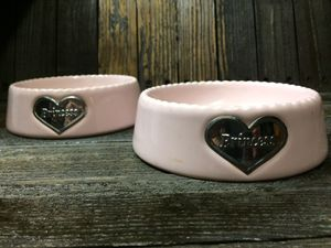 "PAIR OF PINK ""PRINCESS"" PET BOWLS for Sale in Fort Lauderdale, FL"