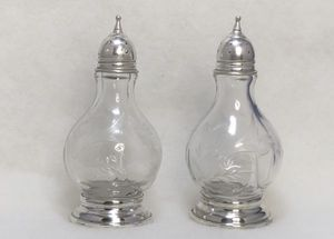 Sterling & Etched Glass Salt & Pepper Shakers - Vintage Pair for Sale in New Holland, PA