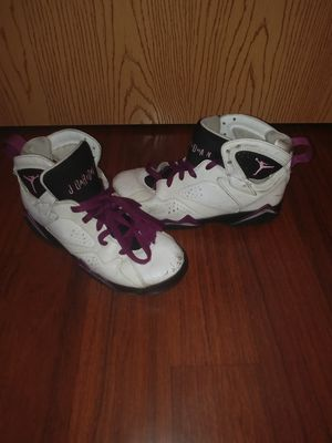 Nike air jordans retro 7 size 5y purple white for Sale in Columbus, OH