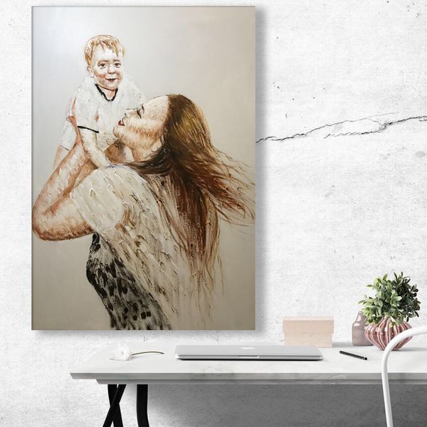 Hand Painted Mother and Child 24x34