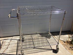 2 SHELF ROLLING METAL CART WITH LOCKING WHEELS for Sale in Robbins, CA