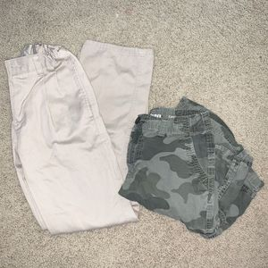 Chaps Boys Khaki Pants 14 Slim Uniform School And Camo Cargo Shorts for Sale in Hayward, CA