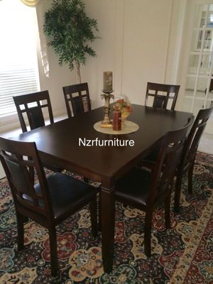 7-PC Breakfast Dining Table w/ 6 Leather Padded Chairs for Sale in Sugar Land, TX
