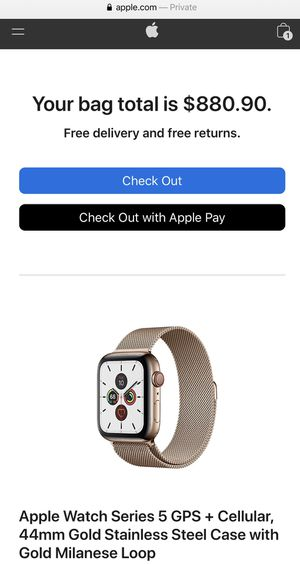 Apple Watch Series 5 GPS + Cellular, 44mm Gold for Sale in Los Angeles, CA