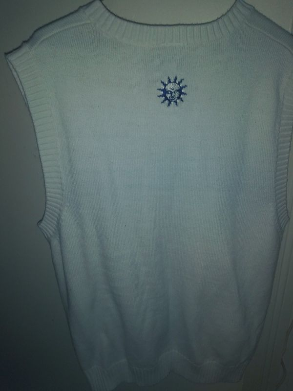 We are once weather beige with blue light blue green v-neck no sleeve size large