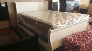 Queen sled bed frame only box spring and matress sold separately for Sale in Phoenix, AZ