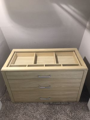 Wood 3 drawer dresser with glass top for Sale in Beaverton, OR