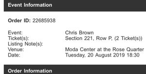 2 Chris Brown tickets for Tuesday Aug 20th for Sale in Happy Valley, OR