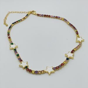Tennis Chain Choker Gold Plated Cubic Zirconia Colorfully for Sale in Kissimmee, FL