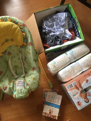 Baby rocker, diapers size 2, box of baby clothes 3-6 months, 2 books $20 for all for Sale in Arlington, VA