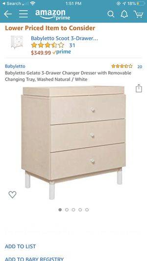 Babyletto Gelato 3-Drawer Changer Dresser with Removable Changing Tray, Washed Natural / White for Sale in Costa Mesa, CA