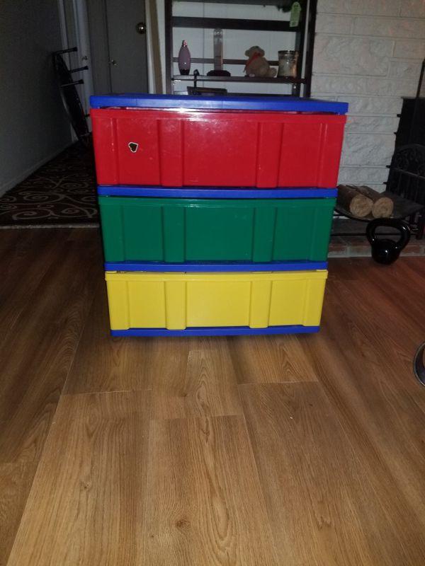 Multicolored plastic drawers