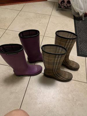 Burberry rain boots(size:5purple,6pattern) for Sale in Orlando, FL