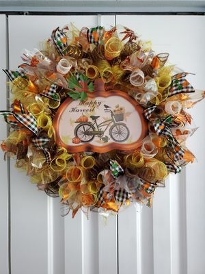 Hand-crafted Fall Deco Mesh Wreath for Sale in Tampa, FL