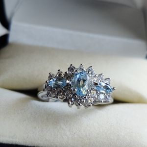 STERLING SILVER BLUE TOPAZ, SAPPHIRE, & DIAMOND RING for Sale in Phoenix, AZ