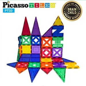 Picasso Tiles 33 Piece Designer Artistry Set Clear 3D Magnetic Building Blocks Tiles for Sale in Newhall, CA