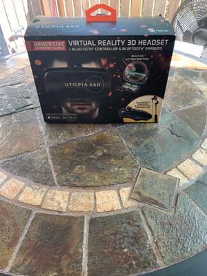 UTOPÍA 360 VIRTUAL REALLY 3D HEADSET BLUETOOTH CONTROL & BLUETOOTH EARBUDS SMARTPHONES for Sale in Denver, CO