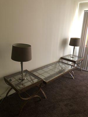 Mesas de centro con lámparas para sala $150 for Sale in Houston, TX