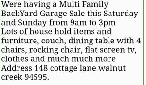 Garage sale walnut creek for Sale in Walnut Creek, CA