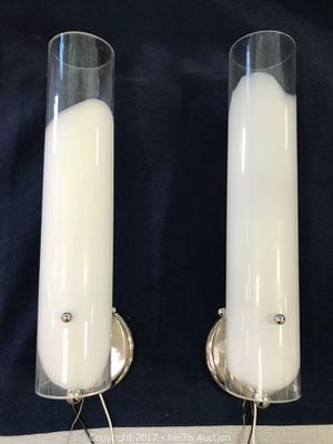 """Two Hardwired Glass Sconce Light Fixtures - 17.5""""H 3.5""""D *More than 5 sets available* for Sale in Las Vegas, NV"""