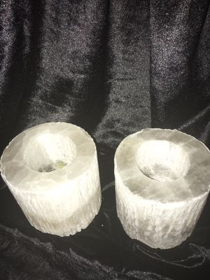 Quartz stone like candle holders.,beautiful when lit. for Sale in St. Louis, MO