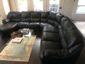All leather black sectional couch for Sale in Haymarket, VA